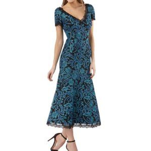 JS Collections Cocktail Embroidered  Midi Dress